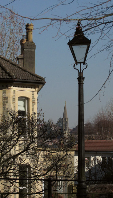 House, spire and lamppost, Redland