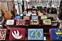 TL8866 : Great Barton: Holy Innocents Church: A striking display of kneelers 2 by Michael Garlick