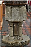 TL8866 : Great Barton: Holy Innocents Church: The font by Michael Garlick