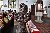 TL8866 : Great Barton: Holy Innocents Church: Finely carved poppyhead 14 by Michael Garlick