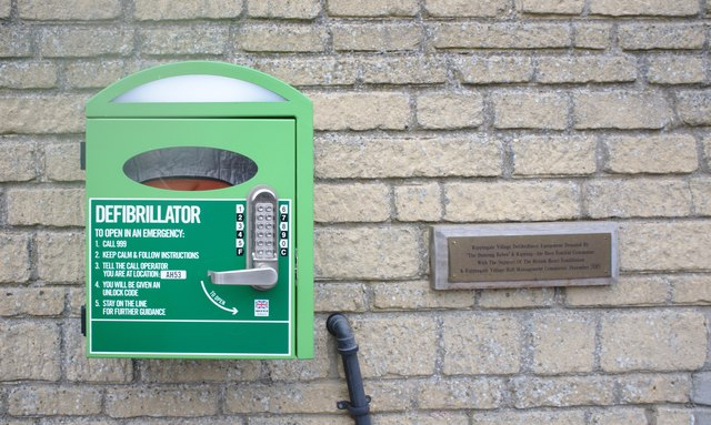 Defibrillator at the village hall