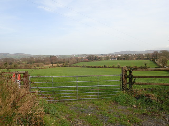 View ENE across farmland from near the lodge on Wood Road