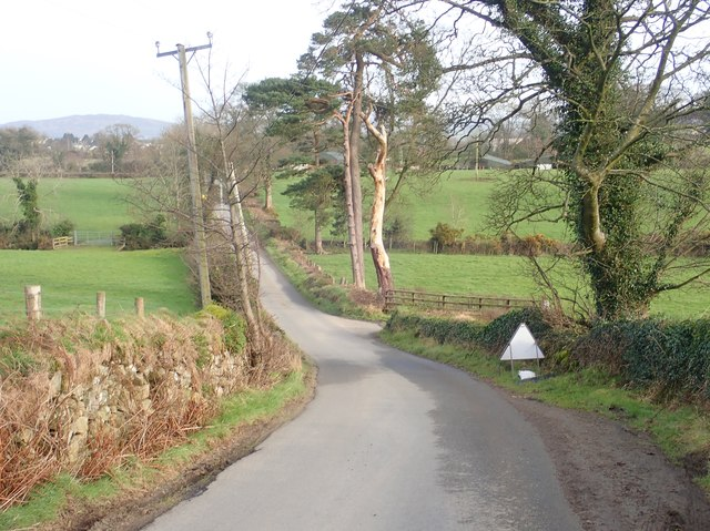 Descending eastwards down Wood Road, Killeavy