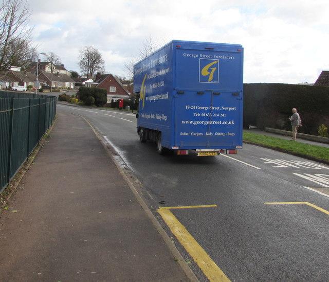Blue George Street Furnishers vehicle, Almond Drive, Malpas, Newport