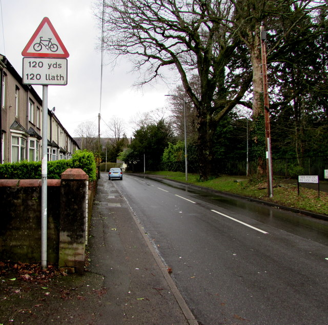Warning sign - cyclists 120 yards ahead, Five Locks Road, Cwmbran