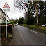 ST2896 : Warning sign - cyclists 120 yards ahead, Five Locks Road, Cwmbran by Jaggery