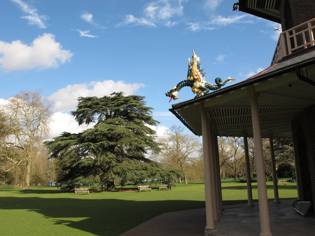 View to trees past pagoda with dragon, Kew Gardens
