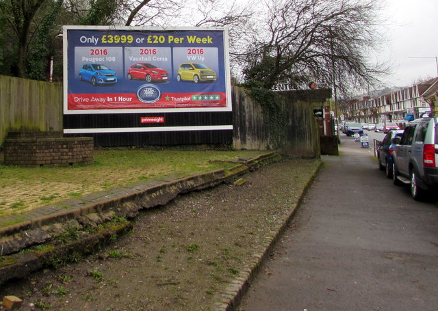 The Trade Centre advert alongside the A473 Broadway, Treforest