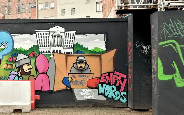 """""""Homeless"""" street art, North Street, Belfast (March 2019)"""