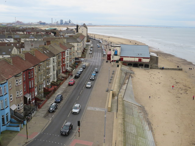 Newcomen Terrace and Redcar seafront