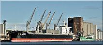 "J3576 : The ""KM Jakarta"" and the ""Arklow Raider"", Belfast harbour (March 2019) by Albert Bridge"
