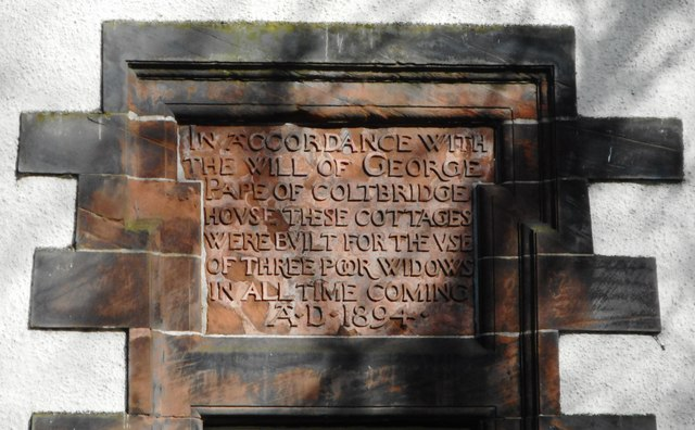 Panel on side of George Pape's Widows' Cottages