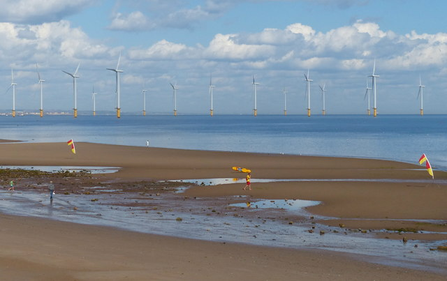 Redcar Sands and the Teesside Wind Farm