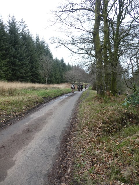 Horse riders on road to Triscombe Stone