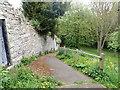 SJ0566 : Steep path outside the walls of Denbigh  by Eirian Evans