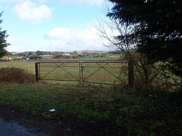 Gates on Newtown Road leading to a disused Irish border facility