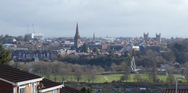 The skyline of Exeter from Redhills