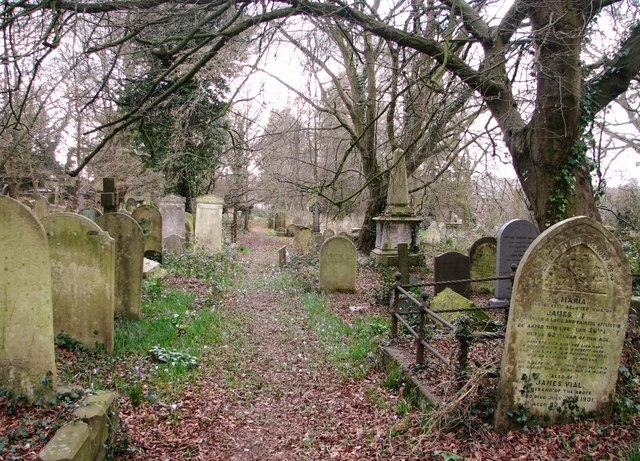 A path past gravestones and monuments
