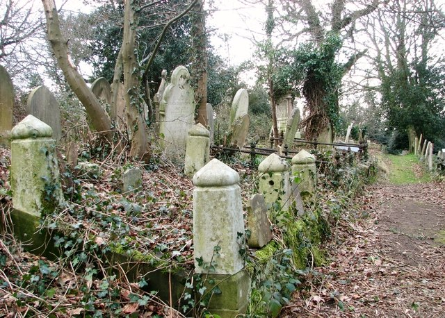 Old burial plots and railings