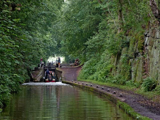 Entering Tyrley Bottom Lock near Market Drayton in Shropshire