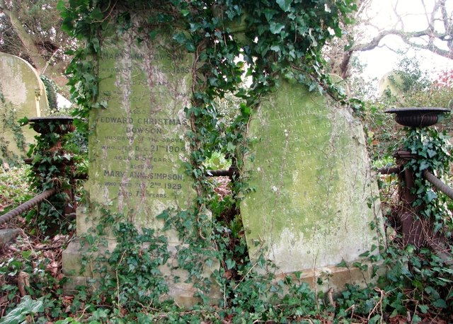 Gravestones on the Dowson Family plot