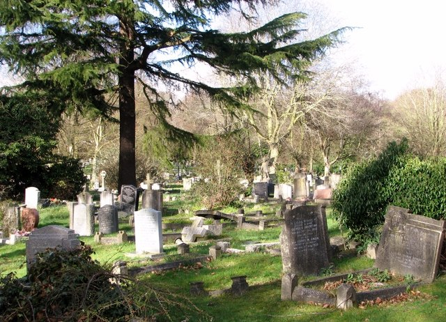 View across the new part of Rosary Cemetery