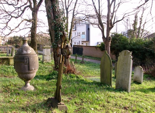 Gravestones on the southern edge of Rosary Cemetery