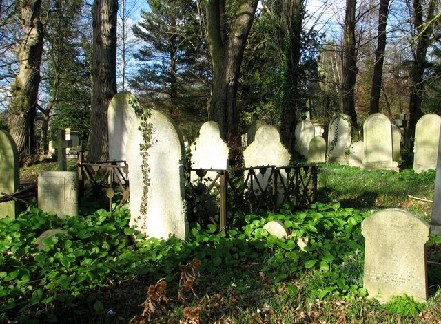 Gravestones in the old part of Rosary Cemetery