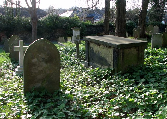 Chest tomb surrounded by headstones