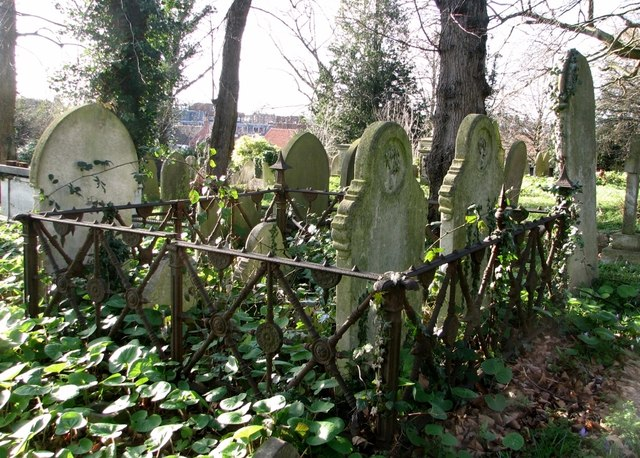 Plot surrounded by iron railings