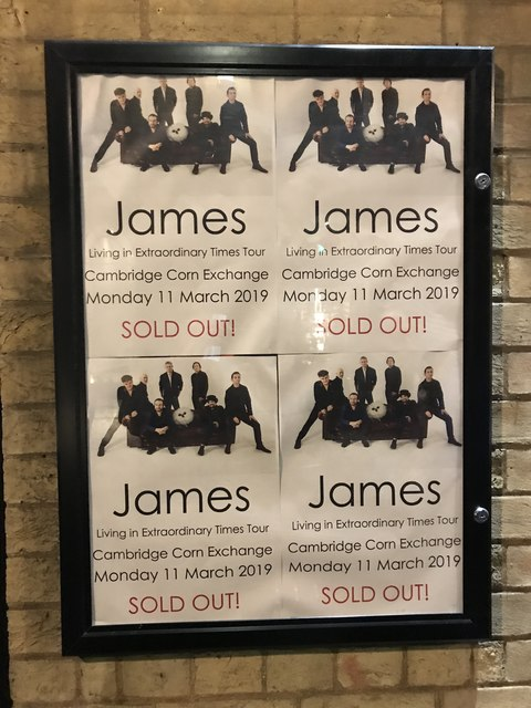 James - SOLD OUT poster outside Cambridge Corn Exchange