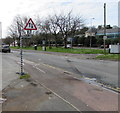 SM9515 : Warning sign two-way traffic, Cambrian Place, Haverfordwest by Jaggery