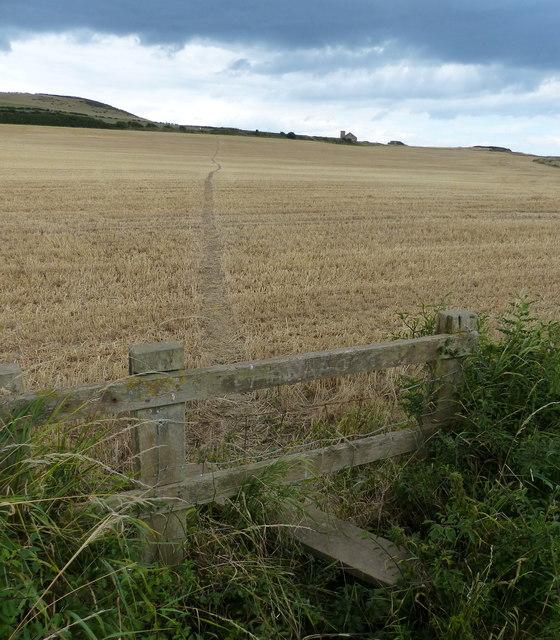 Path across the farmland towards Warsett Hill