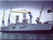 NZ3166 : HMS Ark Royal fitting out at Swans Wallsend Yard 1982 by John Stephen