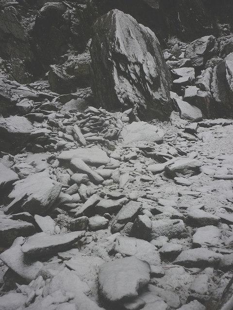 Snowy spoil, Steel Rigg slate quarry