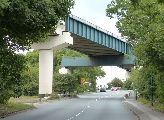 Railway bridge across the A174 Mill Bank