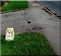 SO9623 : Old milestone (Bath side), Bouncers Lane, Prestbury by Jaggery