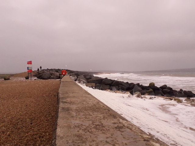 Milford on Sea: the sea defence goes from wall to boulders