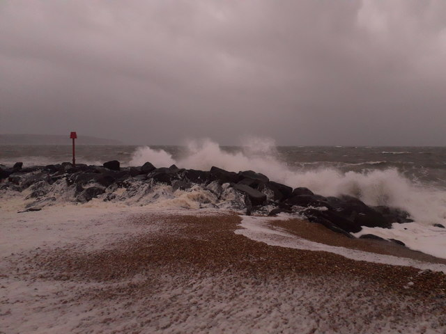 Keyhaven: waves hit the sea defences