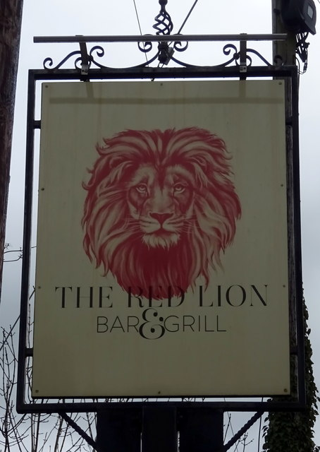 Sign for the Red Lion, Myddle