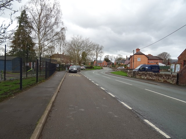 Road beside the school, Myddle
