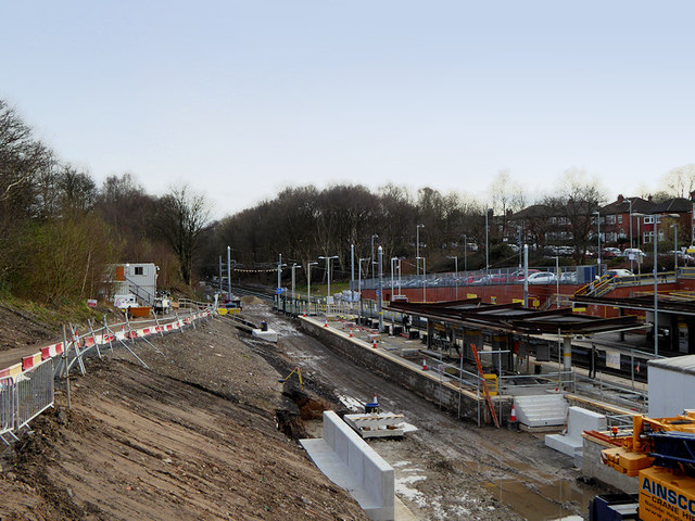 Construction Work at Crumpsall Metrolink Station, March 2019