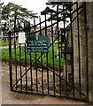 ST2987 : Cemetery gates opening and closing times notice, Newport by Jaggery