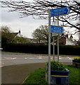 ST2786 : Blue direction and distance signs on a Bassaleg corner by Jaggery