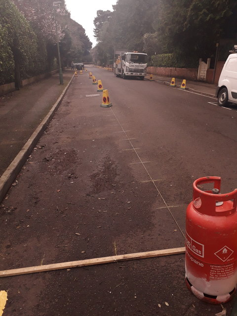 Bournemouth: painting parking lines on St. Anthony's Road