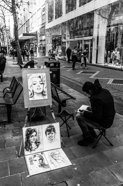 Street artist, New Street, Birmingham