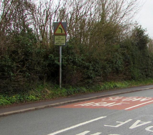 Slow down - bends ahead, Marshfield Road, Marshfield