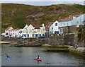 NZ7818 : Kayaks in the harbour at Staithes by Mat Fascione