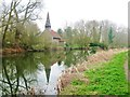 TL8008 : All Saints Church and the Chelmer and Blackwater Navigation Canal, Ulting, Esex by Derek Voller