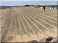 TF6637 : Sea defence bank between North and South Beaches in Heacham by Richard Humphrey